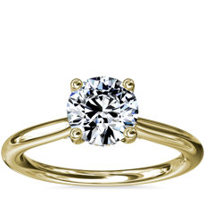 Petite Hidden Halo Solitaire Plus Diamond Engagement Ring in 18k Yellow Gold